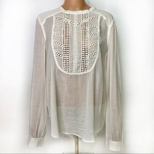 Free People White Flowy Embroidered Tunic Top